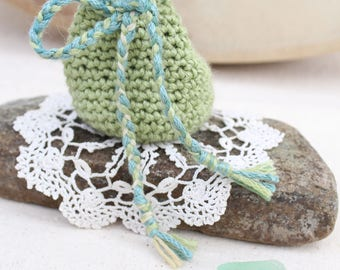 Crocheted Crystal Pouch with Drawstring Closure