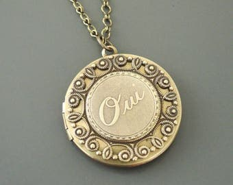 Vintage Necklace - Locket  Necklace - French Locket -  Brass Locket - French Jewelry - Oui Necklace -  Yes Necklace - handmade jewelry