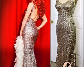 Marilyn's Happy Birthday Dress- Long Fishtail Evening Gown- Low Back Backless Body Con Sequin- Custom Made