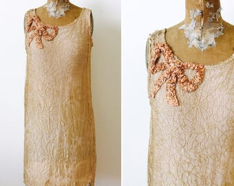 Vintage 1920s Rose Gold Flapper Dress/Spider Web Lace/Ribbonwork Bow/Vintage Rhinestones/Pink ribbon