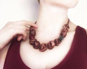 Natural Necklace, EcoFriendly, Linen Necklace, Boho Necklace,  Unique Necklace, Natural Beads, Tagua Nut Bead