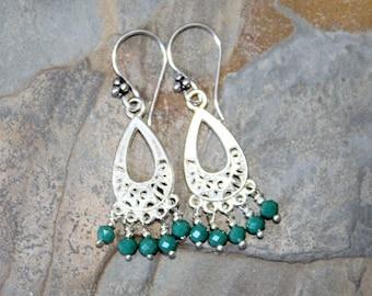 Aqua Chandelier Earrings, Blue Green Earrings, Dangly Earrings, Filigree Earrings, Aqua Earrings, Bohemian Earring, Crystal Earrings