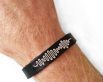 Personalized Leather Bracelet for Him, Music Gift, Hidden Message Leather Bracelet, Soundwave Bracelet for Him, Mens Sound Wave Bracelet