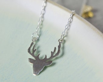 Silver Stag Necklace,  Stags Head Sterling Silver Necklace, Woodland Necklace, Stag Necklace, Deer Necklace, Deer Antlers Necklace, Reindeer
