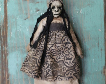 OOAK Handmade Lowbrow Goth Macabre Folk Art Witch Doll Creepy Horror Poppet With Hollow Eyes and Stringy Black Hair The Ring Witchcraft