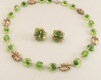 Japan Art Glass Jewelry Set, Vintage Jewelry, Green Necklace & Earrings, Mid Century Vintage Necklace, Glass Beaded Clip On Earrings Signed