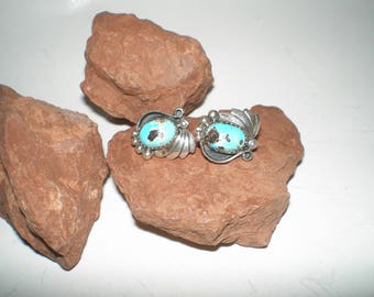 "Turquoise Squash Blossom Navajo Pierced Earrings Sterling Silver Signed ""Blue Diamond"" Mined Gemstones Native American"