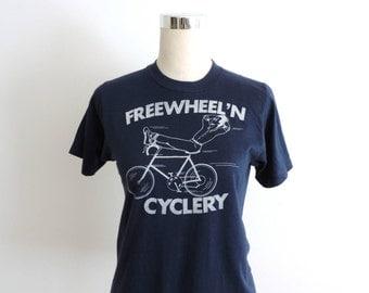 1980's T-shirt Cycling Screen Print Tee NOS Small, X-Small