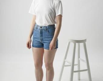 Light Denim Shorts / Light High Waisted Shorts / Mini Jeans Shorts