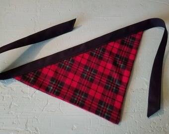 READY TO SHIP- Plaid Flannel Large Dog Bandana Red Black Christmas