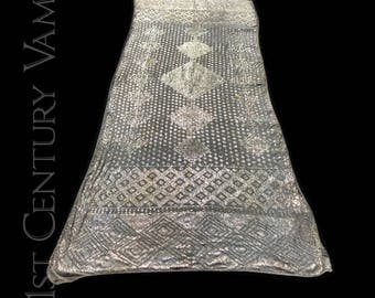 1920s Assuit Shawl. Art Deco Geometric Pattern. Tulle Bi Telli. Jazz Age. Flapper. Egyptian Revival. Egyptomania.