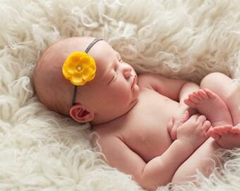 yellow small flower headband, Newborn Headband, Baby Headband, charcoal skinny elastic headband