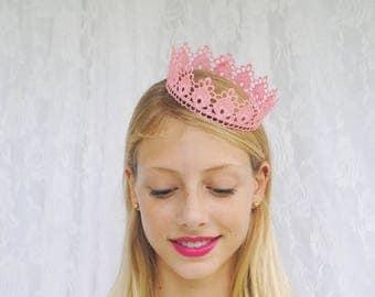 "Pastel Pink Princess Lace Crown - ""Small Floret"" - fairytale, royalty, birthday crown, bridal crown, bachelorette party"