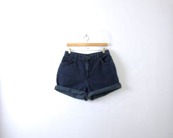 Vintage 80's high waisted shorts, dark blue denim shorts, size 16 / 14