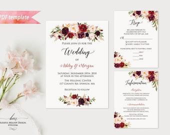 Printable Burgundy Floral Wedding Invitation Set, Editable PDF Template, Wedding Invites RSVP Details, vistaprint, DIY Instant Download #01