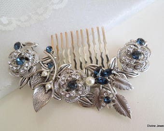 ivory pearl Bridal Rhinestone Hair Comb Wedding Rhinestone Hair Comb flower Rhinestone Hair Comb Swarovski Crystals Something Blue ROSELANI