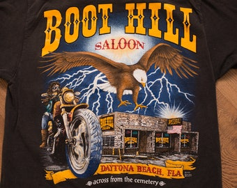 Boot Hill Saloon Pocket T-Shirt, Daytona Beach FL, Motorcycle Graphic Tee, Vintage 90s, Biker & Eagle, Across from the Cemetery, 1995