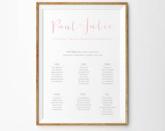 Love Note - Wedding Table Plan - Seating Chart - Elegant Table Plan