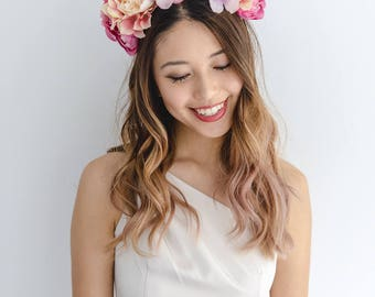 peach pink pastel flower crown // races statement flower crown / spring racing flower crown headband / flower fascinator bohemian