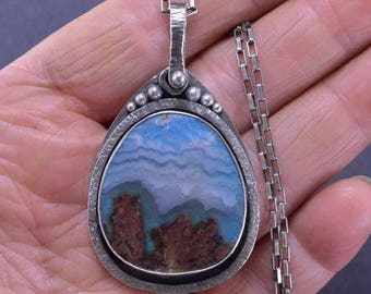 Prudent Man, Mountain Necklace,  Agate Necklace, Plume Agate, Sterling Silver,  Silversmith, Handmade
