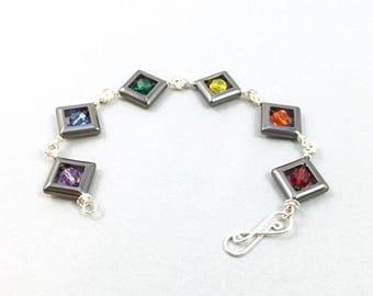 Hematite Frames and Crystal Rainbow Pride Beaded Bracelet in Sterling Silver