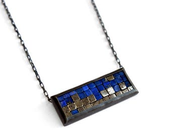 Mosaic Necklace - Lapis Lazuli Pyrite Necklace - Rectangular Pendant - Mosaic Pendant - Blue Pendant - Mosaic Jewelry - Silver Bar Necklace