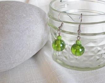 Green Globe Earrings