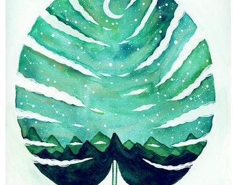 Limited Edition Print // Aurora Borealis Monstera // Elise Mahan Fine art