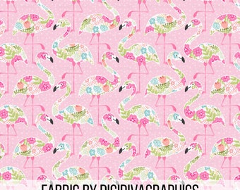 Floral Flamingo Fabric By The Yard - Pink Flamingo and Floral Summer Print in Yards & Fat Quarter