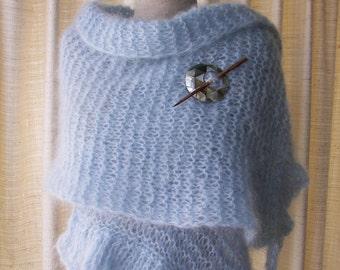 Hand Knit Scarf Wrap Shawl in Sky Blue Mohair Wool / Bridal Shawl / Wedding / Feminine Gift / Ready to ship