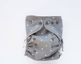 diaper cover, cloth diaper cover, one size, gray, monochrome, simple, triangles, grey, AI2 Optional, All-in-Two optional