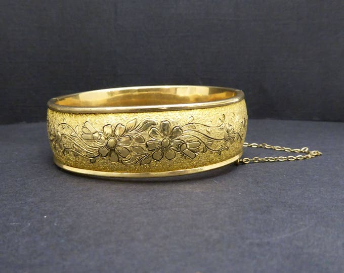 10K Gold Filled Hinged Bangle Bracelet Antique Victorian Floral, Taille d Epergne Jewelry Vintage Signed 1920s 1930 S.O.B. 1/20th - 10K