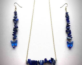 Lapis Lazuli Chipped Stone Earring & Necklace Set