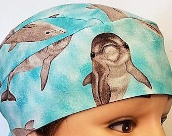 Dolphins Chemo Cap, Skull Cap, Surgical Cap, Handmade, Ocean, Hair Loss, Head Wrap, Hat, Do Rag, Alopeica, Helmet Liner, Motorcycle,Surfing