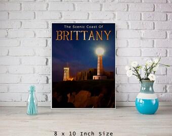 Lighthouse Art 8x10 Art Print Poster Brittany France European Travel Art Light House Print French Art