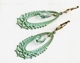 Aged Green Patina Filigree Teardrop Earrings with Czech Glass Drops on Antiqued Brass Hooks