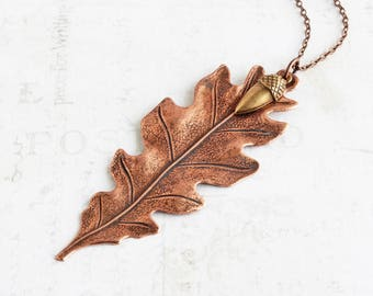 Large Antiqued Copper Plated Oak Leaf Pendant Necklace with Brass Acorn
