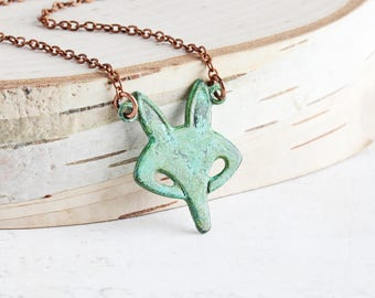 Green Patina Fox Pendant Necklace on Antiqued Copper Plated Chain, Woodland Jewelry (Hand Patina)