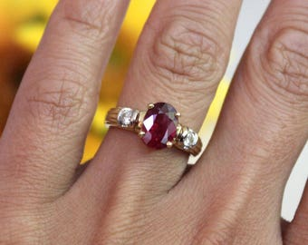 VINTAGE, JULY birthstone, estate ruby ring, vintage ruby ring with diamonds, crimson red ruby