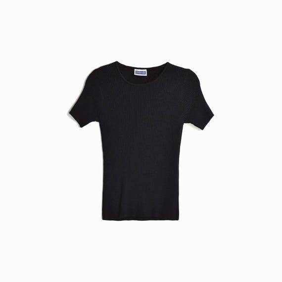 Vintage 90s Ribbed Black Tee/ 90s Short Sleeve Tee / Stretchy Black Top - women's small