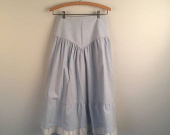 Ruffled Denim Skirt with White Eyelet Lace Long Full Light Wash Drop Waist Jean Skirt 27 inch waist