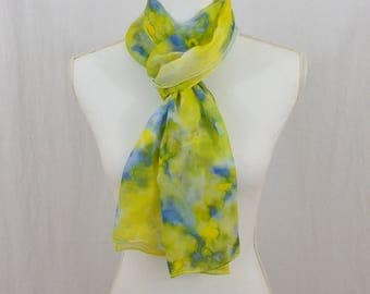 Hand Painted Chiffon Silk Scarf, Blue and Yellow, Abstract Scarf, OOAK, Gift for her, Hippie, Festival Clothing
