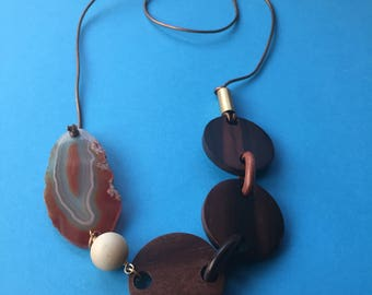 Orange Amber Agate Amazonite Wooden Chain Brass and Brass Leather Cord Long Necklace