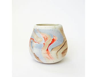 Vintage Nemadji Style Pottery Planter / Blue and Red