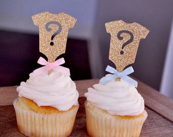 Gender Reveal Party Decor.  Handcrafted in 2-5 Business Days.  Gold Onesie Question Mark Cupcake Toppers 12CT.