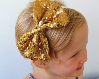 Gold Glitter Bow, Gold Hair Bow, Gold Bow, Gold Sequin Bow, Gold Bow Clip, Large Gold Bow Gold Hair Accessories Hair Tie Bow Large Hair Clip