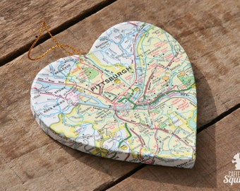 Pittsburgh, Pennsylvania - Vintage Map Covered Heart Ornament - PA, Home Decor, East Coast, 3 Dimensional, Christmas, Tree, City