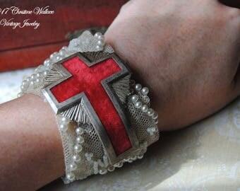 HALLOWED--Antique Victorian Beaded Pearl Tulle Dress Trim Vintage Red Velvet Cross Badge Antique Cut Steel Rhinestone Button Buckle BRACELET