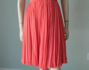1960s-70s Bob Bugnand Silk Chiffon Cocktail Dress / Grecian Pleated / 60s Silk Dress / 70s Silk Dress / Couture / Small