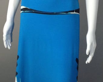 Cobalt Blue, Black and White Maxi Skirt size L